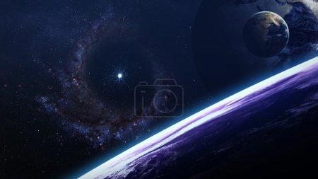 Foto de Escena del universo con los planetas, estrellas y galaxias en el espacio exterior, mostrando la belleza de la exploración del espacio. Elementos proporcionados por la Nasa - Imagen libre de derechos
