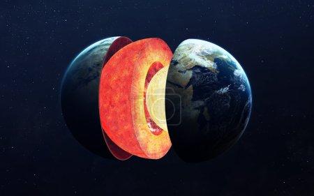 Photo pour Structure du noyau terrestre. Éléments de cette image fournis par la NASA - image libre de droit