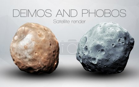 Deimos and Phobos - High resolution 3D images presents planets of the solar system. This image elements furnished by NASA.