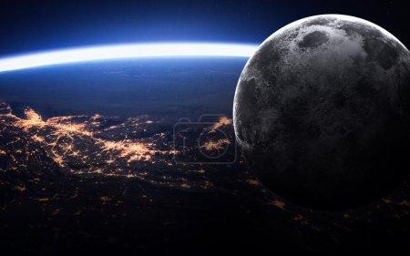 Photo pour Terre et la Lune depuis l'espace. Éléments de cette image fournie par la Nasa - image libre de droit