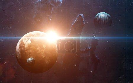 Photo pour Planètes sur les nébuleuses dans l'espace. Ce éléments de l'image fournie par la Nasa - image libre de droit