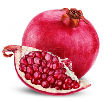 Ripe pomegranate fruit with half isolated on white...