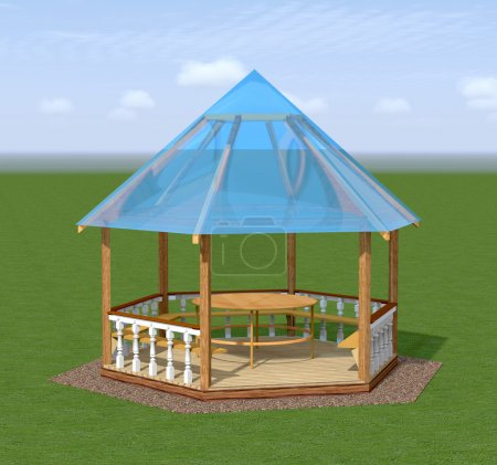 Wooden gazebo is in the garden.