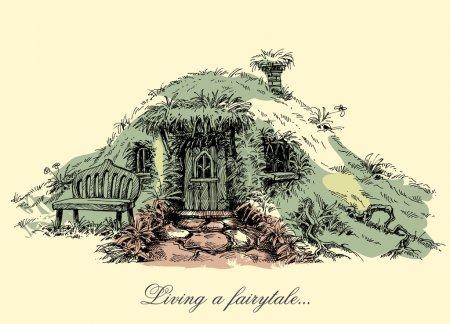 A small mysterious house from fairy tales. Dwarf home