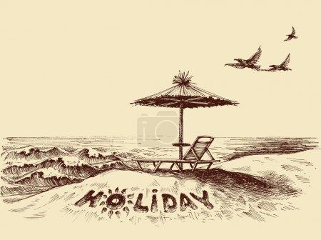 Lounger and umbrella on the beach near sea waves. Holiday writte