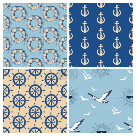 Marine seamless patterns vector collection. Sea and ocean retro