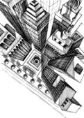 Top view of a city skyscrapers drawing aerial view sketch