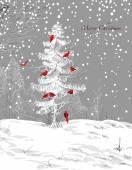 Birds Christmas tree winter scene