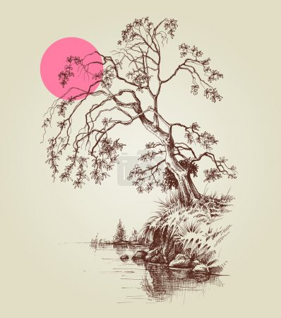 A tree by the lake or river and a pink full moon sketch