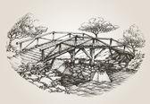 Bridge over river sketch