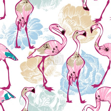Exotic seamless pattern, flowers and flamingos