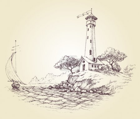 Lighthouse vector drawing, seascape and sailboat at sea, travel