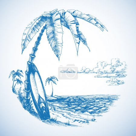 Illustration for Surfing background, palm trees and sea view - Royalty Free Image