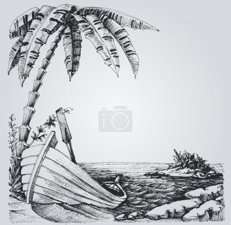 Tropical island sketch, sea shore, palm trees and boat summer de
