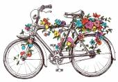 Bike with flowers design element for wedding invitations
