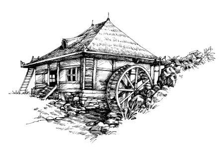 Watermill hand drawn artistic illustration