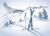 Ski background mountains in winter season