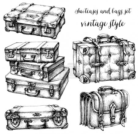Illustration for Suitcases, luggage and bags icon set, hand drawn in vintage style - Royalty Free Image