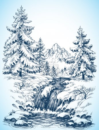 Illustration for Winter snowy landscape, pine forest and river in the mountains - Royalty Free Image