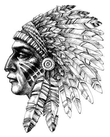 Native american indian warrior profile