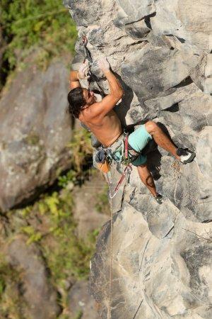 Courageous Rock Climber Aerial Shot