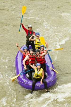 Numerous Family On Whitewater Rafting Trip