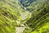 Agoyan Dam On Pastaza River Aerial Shot