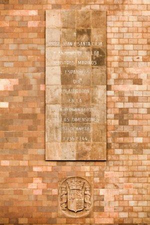 Foto de Inscripción Conmemorativa a Contribuyentes Españoles que Ayudan a Medir el Planeta Quito Ecuador - Imagen libre de derechos
