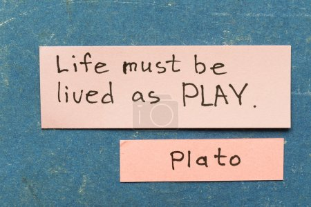 Photo for Famous ancient Greek philosopher Plato quote interpretation with sticky notes on vintage carton board about life livin - Royalty Free Image