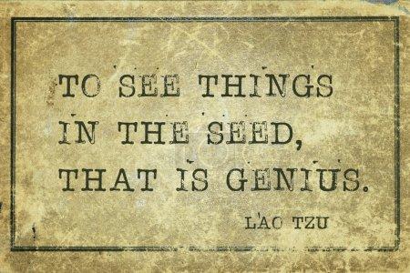 Photo pour Pour voir les choses dans la graine, c'est-à-dire le génie l'ancien philosophe chinois Lao Tzu citation imprimée sur du carton grunge vintage - image libre de droit