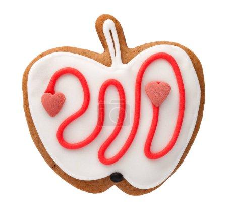 Photo pour Biscuit au pain d'épice en forme de pomme pour Noël isolé sur fond blanc - image libre de droit