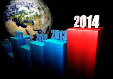 Photo pour Graphique des gains mondiaux en 2014. L'Europe et l'Asie en arrière-plan. 3d rendu. Éléments de cette image fournis par la NASA - image libre de droit