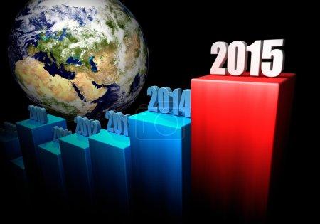 Photo pour Graphique des gains mondiaux en 2015. L'Europe et l'Asie en arrière-plan. 3d rendu. Éléments de cette image fournis par la NASA - image libre de droit