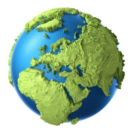 Photo pour Globe 3d isolé sur fond blanc. Europe continentale. Éléments de cette image fournis par la NASA - image libre de droit