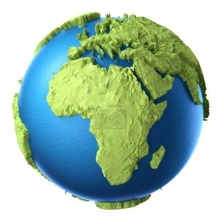 Photo pour Globe 3d isolé sur fond blanc. Continent Afrique. Éléments de cette image fournis par la NASA - image libre de droit