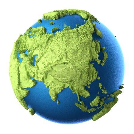 Photo pour Globe 3d isolé sur fond blanc. Continent Asie. Éléments de cette image fournis par la NASA - image libre de droit