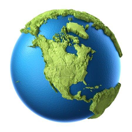 Photo pour Globe 3d isolé sur fond blanc. Continent Amérique du Nord. Éléments de cette image fournis par la NASA - image libre de droit