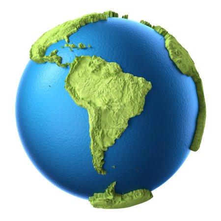 Photo pour Globe 3d isolé sur fond blanc. Continent Amérique du Sud. Éléments de cette image fournis par la NASA - image libre de droit
