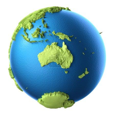 Photo pour Globe 3d isolé sur fond blanc. Continent Australie. Éléments de cette image fournis par la NASA - image libre de droit