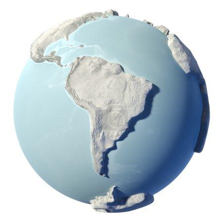 Photo pour Terre d'hiver isolée sur fond blanc. 3d rendu. Continent Amérique du Sud. Éléments de cette image fournis par la NASA - image libre de droit
