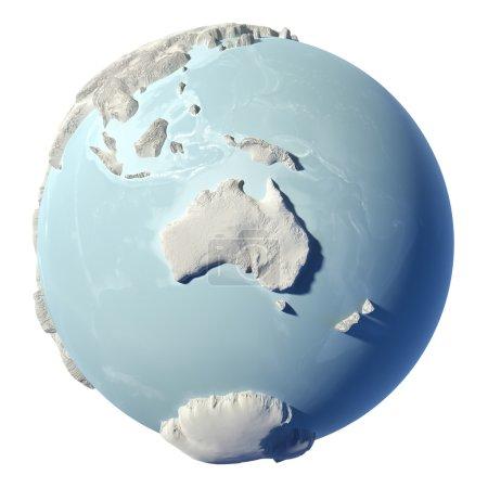 Photo pour Terre d'hiver isolée sur fond blanc. 3d rendu. Continent Australie. Éléments de cette image fournis par la NASA - image libre de droit
