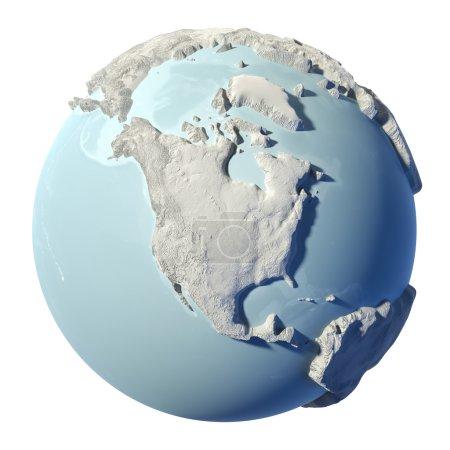 Photo pour Terre d'hiver isolée sur fond blanc. 3d rendu. Continent Amérique du Nord. Éléments de cette image fournis par la NASA - image libre de droit