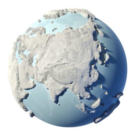 Photo pour Terre d'hiver isolée sur fond blanc. 3d rendu. Continent Asie. Éléments de cette image fournis par la NASA - image libre de droit