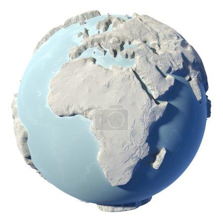 Photo pour Terre d'hiver isolée sur fond blanc. 3d rendu. Continent Afrique. Éléments de cette image fournis par la NASA - image libre de droit