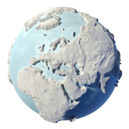 Photo pour Terre d'hiver isolée sur fond blanc. 3d rendu. Europe continentale. Éléments de cette image fournis par la NASA - image libre de droit