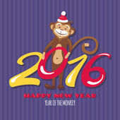 New year greeting card with monkey vector illustration