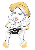 Female Fashion Model with a Vintage Camera