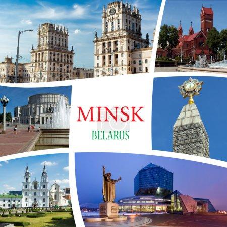 Photo pour Collage de photos de Minsk. Bélarus - image libre de droit