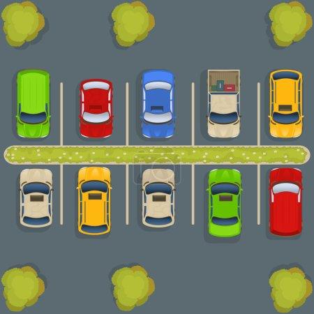 Illustration pour Illustration vectorielle d'un parking avec voitures et camions, vue de dessus . - image libre de droit