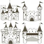 Vector illustration of four different black castles